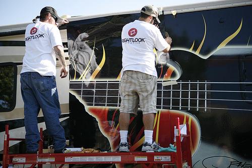 Gene Simmons RV Vehicle Wrap Installation