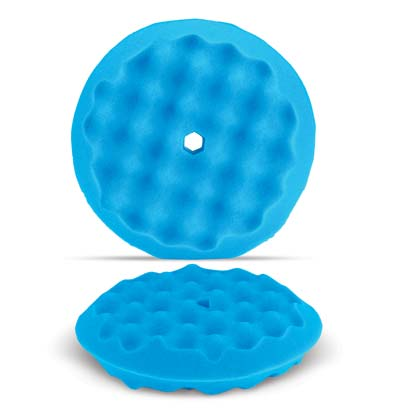 "Blue 8"" Wave Pattern Double Sided Foam Buffing Pad - Finishing"