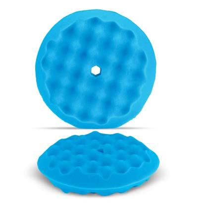 "Blue 8"" Wave Pattern Double Sided Foam Buffing Pad - Finishing"