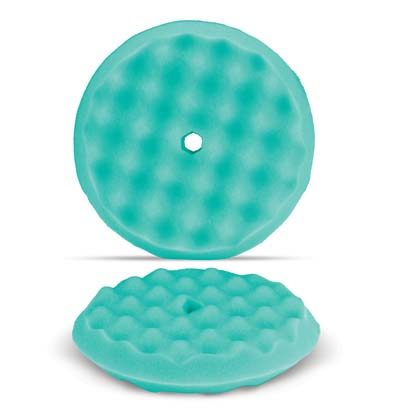 "Green 8"" Wave Pattern Double-Sided Foam Buffing Pad - Light Cutting"
