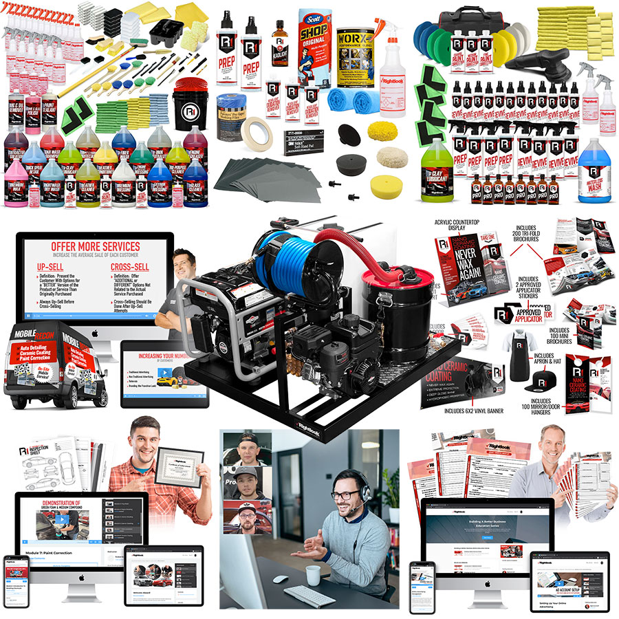 Rightlook Deluxe Online Detail Training Startup Package with Micro Deluxe Detail Skid